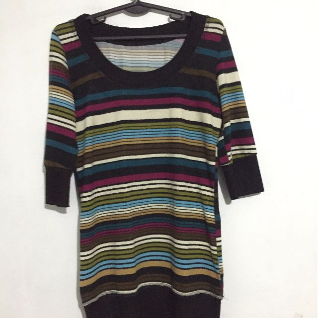 Striped 3/4 long sleeve shirts
