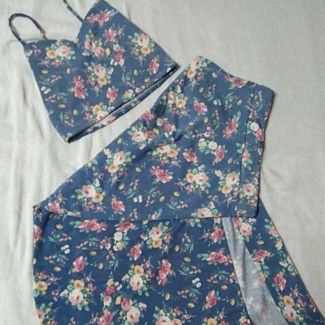 Terno Crop Top And Maxi Skirt