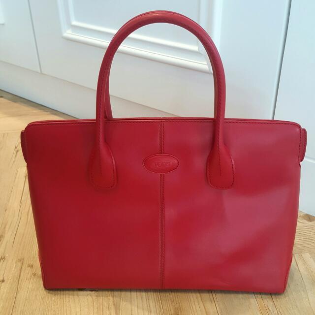Tods 牛皮 紅色 手提包