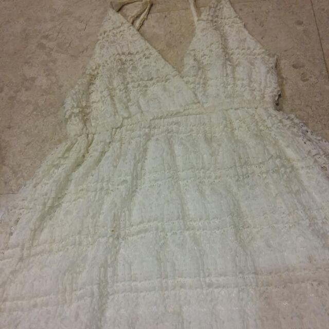 White Lacy Maxi Dress - Preloved