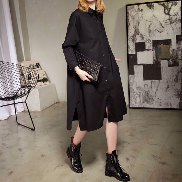 Y2™歐美剪裁簡約抓皺摺開叉造型長袖襯衫長版洋裝▪️休閒寬鬆時尚大版中大尺碼顯瘦修身設計款大碼女裝韓版日本代購春裝新款