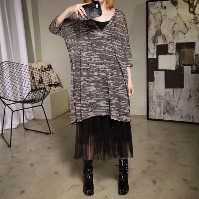 Y2™歐美剪裁性感針織大V領波紋開叉七分袖長版洋裝▪️休閒寬鬆時尚大版中大尺碼顯瘦修身設計款大碼女裝韓版日本代購春裝新款