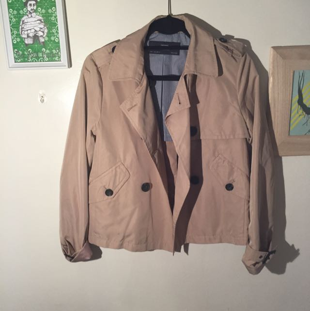 Zara Basic Cropped Trench Size Small