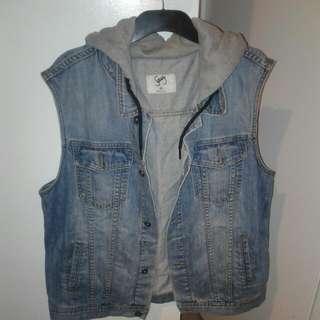 XXL Denim Vest with Grey Sweatshirting Hood