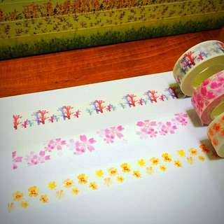 15mm*10m Gardens By The Bay With Pretty Pink Ribbon Like Flowers And Autumn Leaves Washi Tape!!