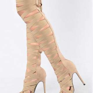 *REDUCED FASHION NOVA Strappy Thigh High Boot