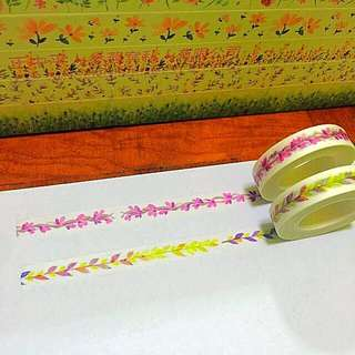 10mm*10m The Rare Pink Vines And The Special Tone Straight Cut Leaves Washi Tapes!