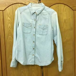 日系EME刷白淺色雙口袋牛仔襯衫