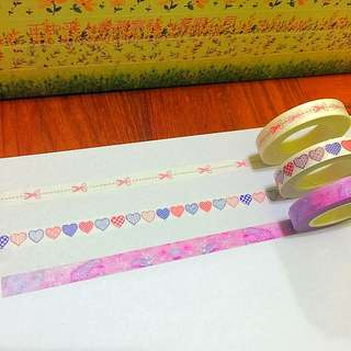 8mm*10m Cut Along The Dots, The Hearts Reunion And The Galaxy Washi Tapes!!
