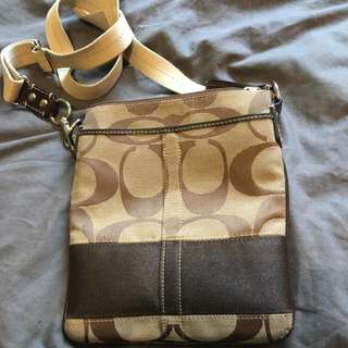 Beige And Brown Coach Satchel