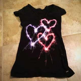 Black Firework Pretty Teen Tee Shirt Size Small
