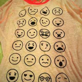 Emoji Pink Sheer Neon Aeropostale Long sleeve Tee Shirt Size Small S
