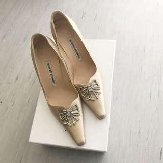 Manolo Blahnik Crystal Bow Heels