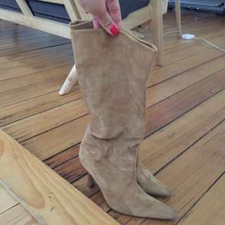 Sachi Tan Suede Boots Size 7