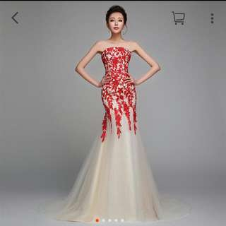 wedding gown dinner gown fish tail red color