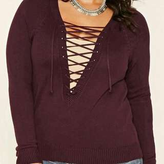 Lace Up Sweater Forever21. Size 0X