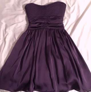 Costa Blanca Purple Silky Strapless Dress