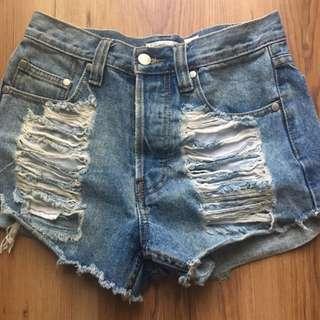 Minkpink Ripped Denim Mini Shorts