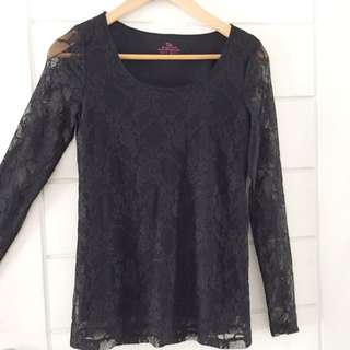 Black long transparent sleeves shirt