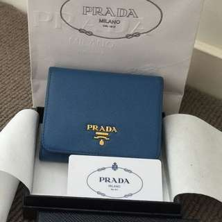 Authentic Blue Prada Ladies Tri fold Leather Wallet