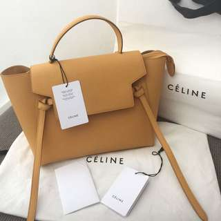 AUTHENTIC CELINE MINI BELT removable shoulder strap with CALFSKIN Leather.