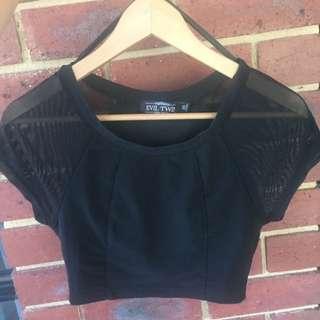 Black Crop Top, Mesh Sleeves, EVIL TWIN, Size XS