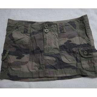 Army Print Short Skirt