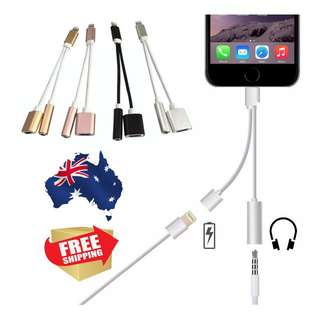 IPhone-7-Plus-2-in-1iPhone 7 / Plus 2 in 1 Lightning to 3.5mm Headphone Adapter Audio + Charge Cable