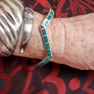 Unisex Vintage sterling & turquoise zigzag cuff Indian Made