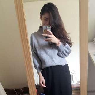 灰色 微高領 蓬蓬袖 針織 毛衣