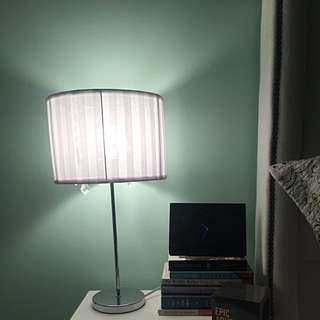 White Lamp With Steel Base