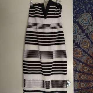 Women's Noughts & Crosses Dress Black/White Stripe Size 12
