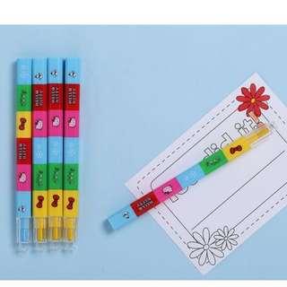 外貿原單進出口出口美國可愛凱蒂貓咪圖案繪畫畫填色拼插式積木彩色蠟筆
