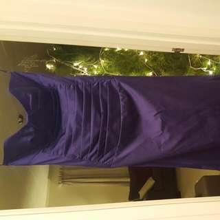 Purple Strapless Evening Dress