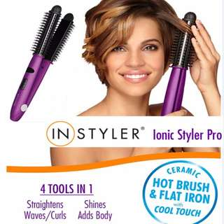 Instyler Ionic styler pro hair comb brush flat iron 4 in 1