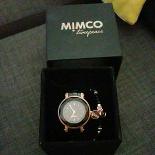 Mimco Black And Rose Gold Watch And Bracelet