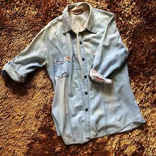 Washed Denim Shirt With Floral Detail