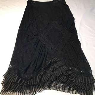 CD黑色蕾絲魚尾長裙