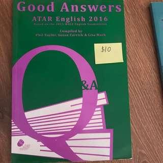 Good Answers English Atar 2016