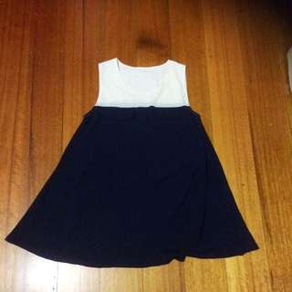 NEW Cute White And Navy Blue Dress