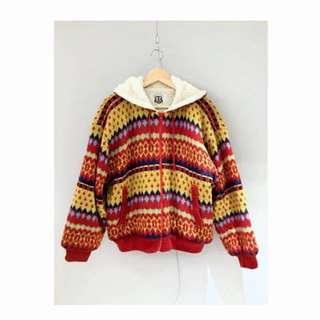 日本古著 冬日棉襖民族風厚外套
