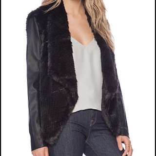Bardot Fur Coat With Leather Sleeves