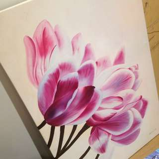 Hand Painted Floral Canvas Art