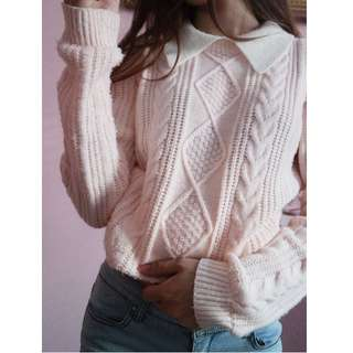 Peachy cable knit sweater