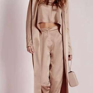 Misguided Nude Silky Two Piece Set