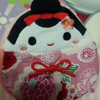 保留日本藝妓娃娃零錢大容量小物包+care Bear