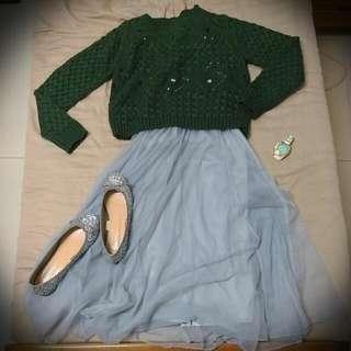(含運)短版墨綠針織田毛衣
