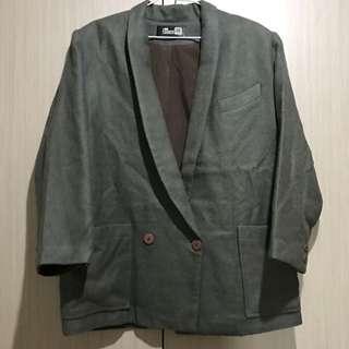 古著/墨灰綠色素面雙排單釦寬鬆毛料長版外套大衣