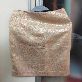 H&M Metallic Gold Print Skirt
