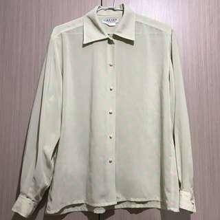 古著/英國製JAEGER蘋果綠搭配粉色點點雪紡長袖襯衫